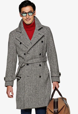 Suitsupply outlet sale: Suitsupply double-breasted herringbone coat