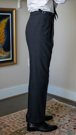 Anglo-Italian suit trousers side view after alterations