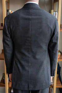 Close-up back view of Anglo-Italian double-breasted suit