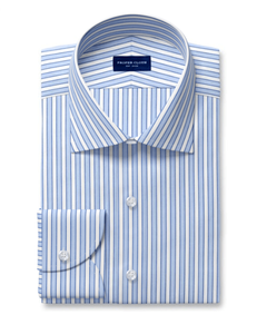 Proper Cloth blue border stripe dress shirt