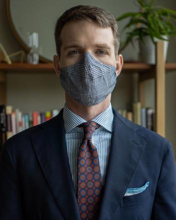 glen check Martin Greenfield mask worn with H.N White London Irish poplin tie, Spier MacKay dress shirt, and Cavour navy suit