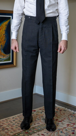 Anglo-Italian suit trousers front view after alterations