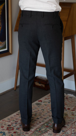 Full-length view of rear of Cavour suit trousers
