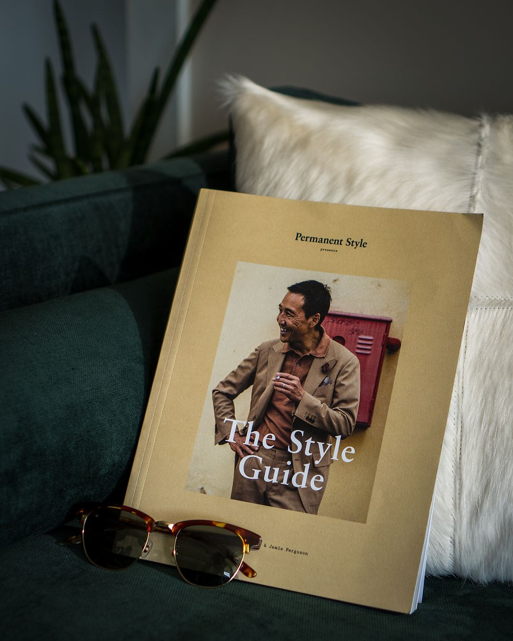 Cover of The Style Guide by Permanent Style aka Simon Crumpton and a pair of Kent Wang Browline Sunglasses