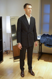 First fitting of Anglo-Italian double-breasted suit