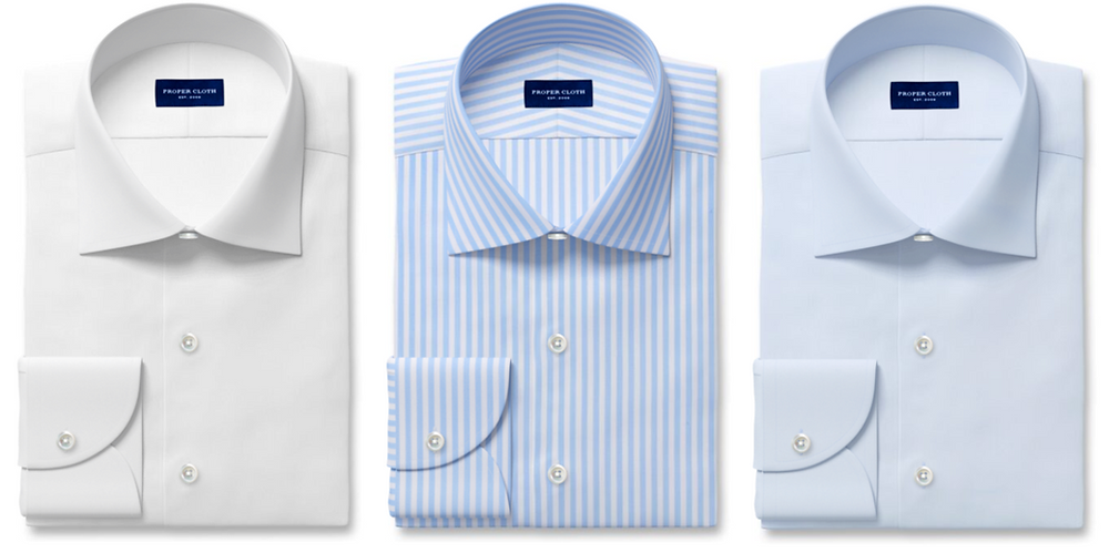 Proper Cloth white, light blue Bengal stripes, and light-blue dress shirts