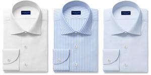 Proper Cloth white, light blue Bengal stripes, and light-blue dress shirts