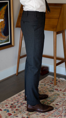 Right side full-length view of Cavour suit trousers