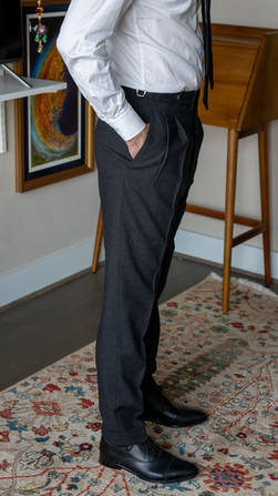Anglo-Italian suit trousers side view before alterations