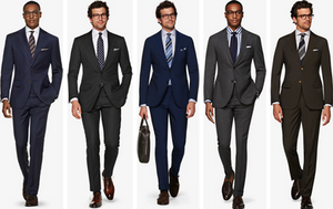 Suitsupply navy, charcoal, blue, mid-gray, and dark brown suits