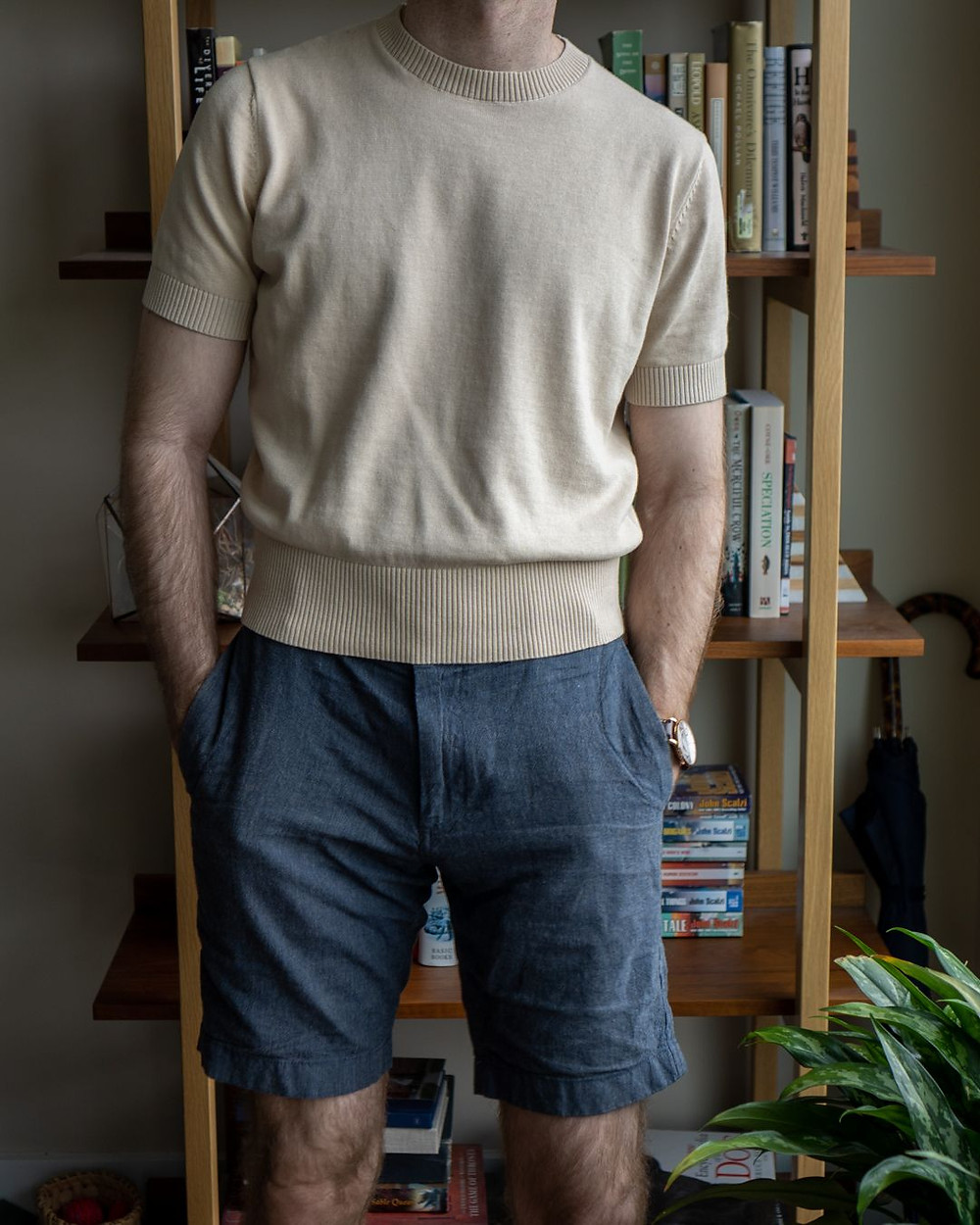The Anthology cream knitted t-shirt with J. Crew shorts