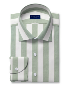 Proper Cloth green awning stripe dress shirt