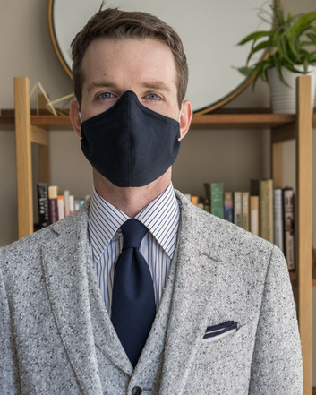 navy Martin Greenfield mask worn with Suitsupply suit, Berg & Berg pocket square, Rampley & Co. tie, and Original Stitch dress shirt