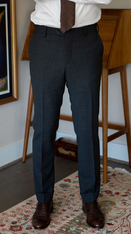 Front full-length view of Cavour suit trousers
