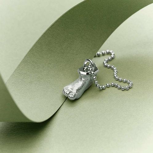Miniatur Babyfuß Silber mit Kette