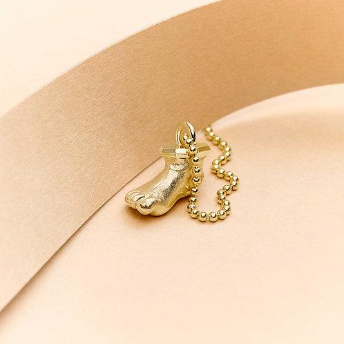 BUNTE Select Miniatur Babyfuß Gold mit Kette