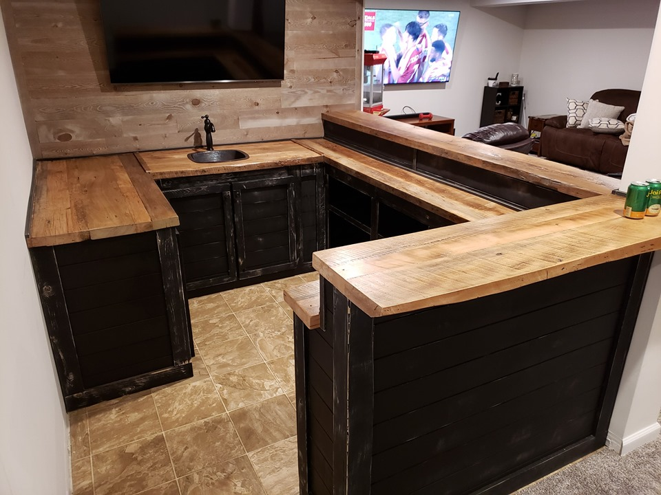Barnwood Split Level Bar w/ sink
