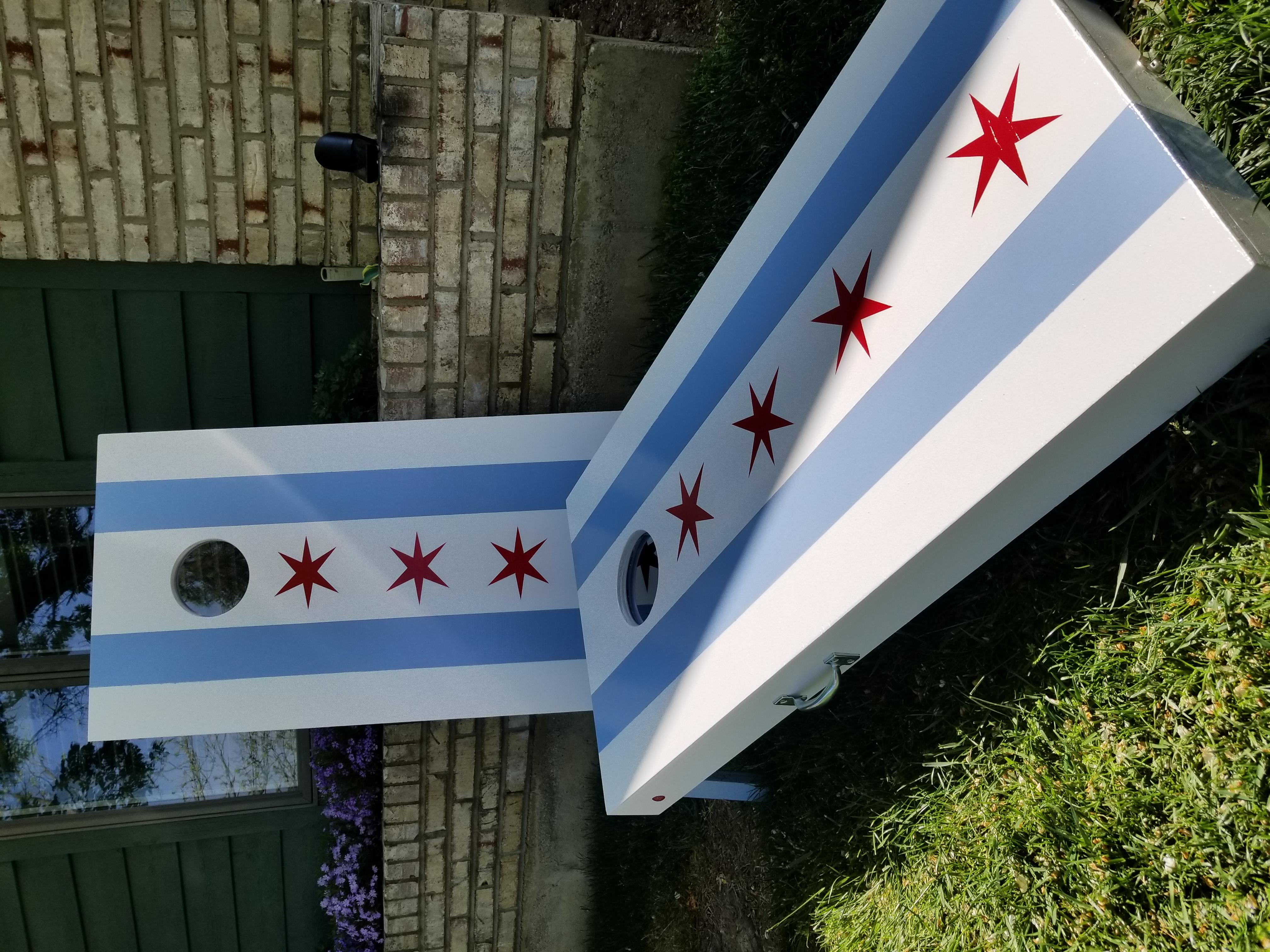 Chicago Flag Cornhole Set