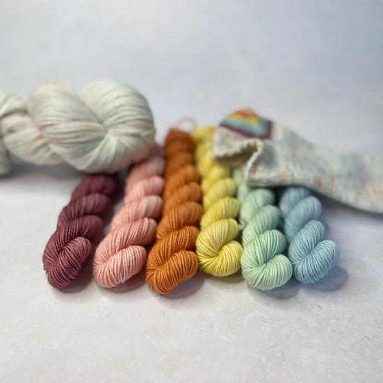 Block Party Muted Rainbow Pop Set - Merino Sock