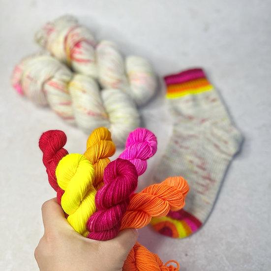 Block Party Neon Rainbow Pop Set - Merino Sock