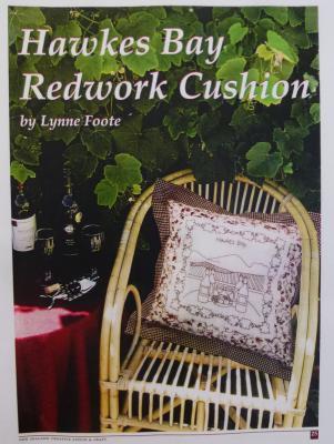 Hawkes Bay Redwork Cushion
