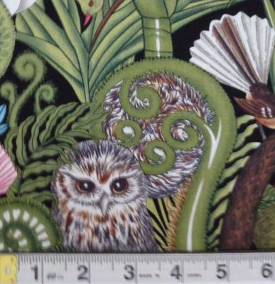 Morepork & NZ Birds with NZ Flora