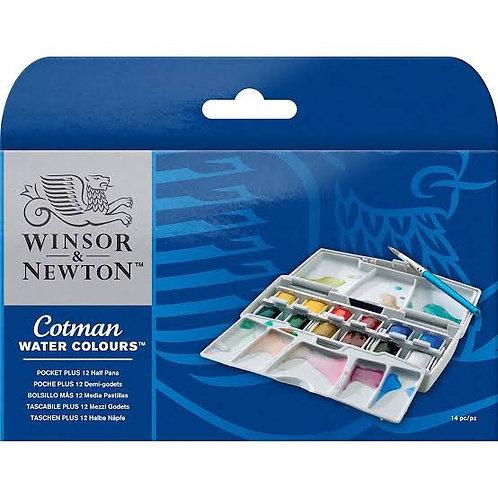 Winsor &  Newton Cotman Watercolours Pocket Plus - 12 Half Pans