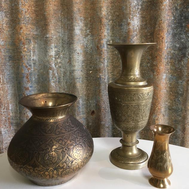Brass posey vases