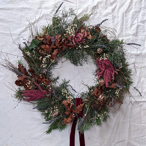 Full dried wreath - plum (postal delivery option)