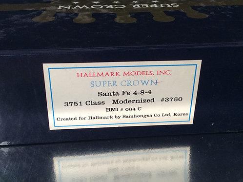 HALLMARK SANTA FE 4-8-4 CLASS 3751 FACTORY PAINTED EXCELLENT