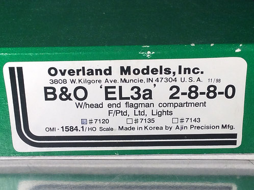 OMI BALTIMORE & OHIO CLASS EL-3a 2-8-8-0 #7120 F/P EXCELLENT