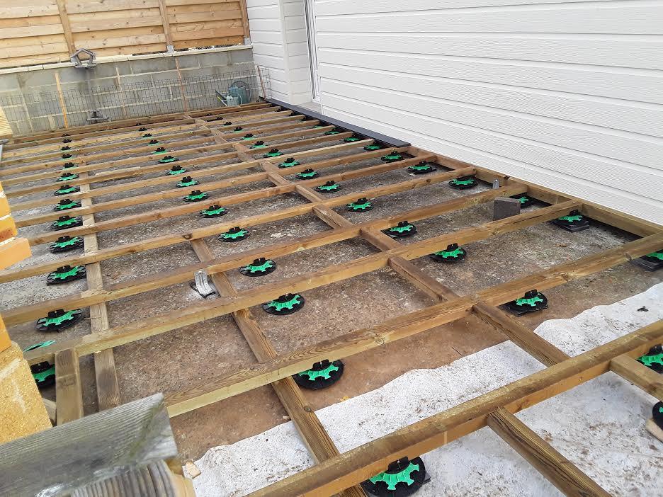 preparation du sol de la terrasse
