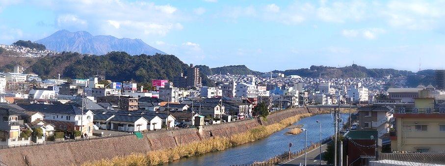 甲突川と桜島