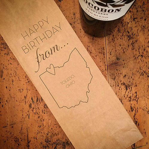 Local Happy Birthday From...Wine Bag