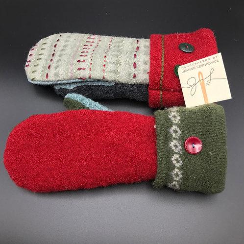 Women's Wool Red Mittens