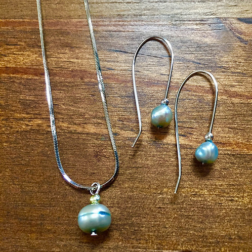 Baby Blue Freshwater Pearl Set