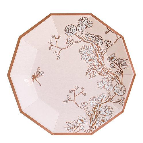 Jardin - Pale Pink Floral Premium Large Paper Plates