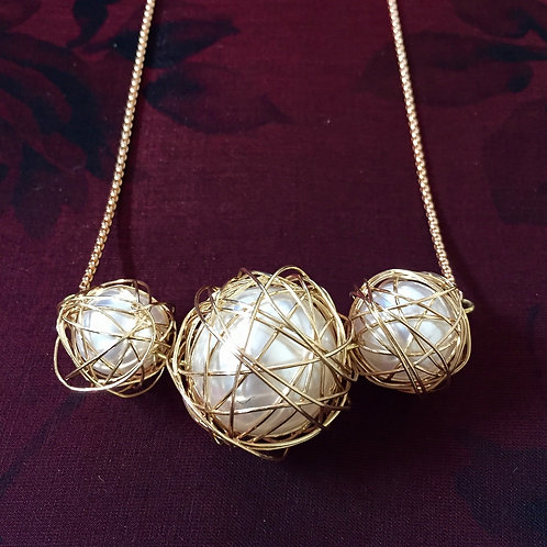Wire Wrapped Beads Necklace