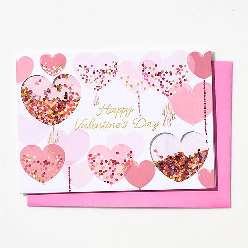 Confetti Heart Balloons Valentine Card