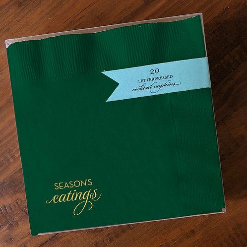 Season's Eatings Green Cocktail Napkins