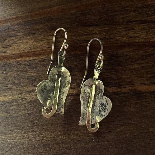 Antique Silver & Brass Heart Earrings