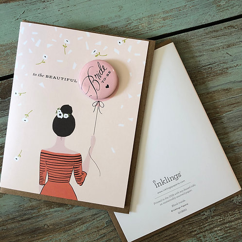 Bride To Be Girl Button Card - Brunette