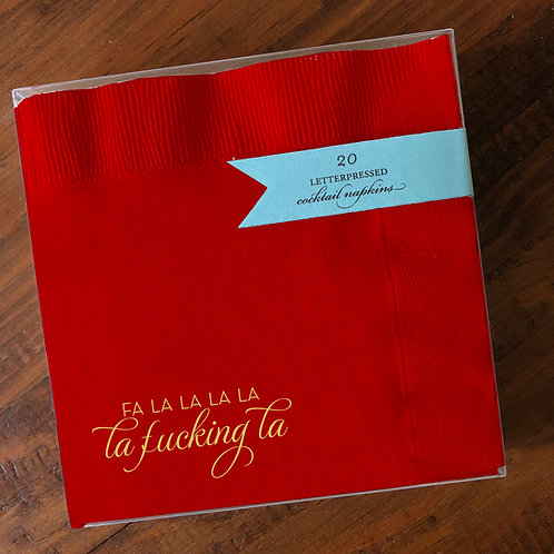 Fa La La Red Cocktail Napkins