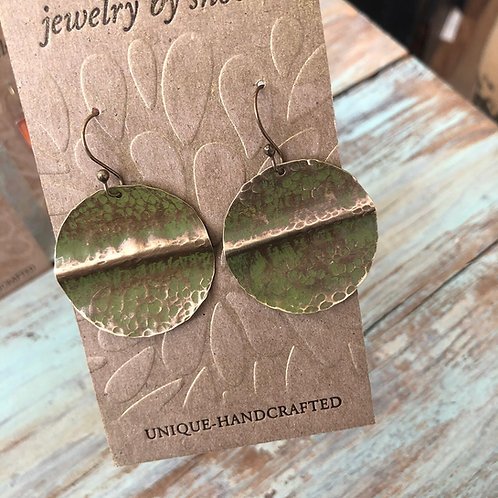 Brass Circular Earrings in Moss Green
