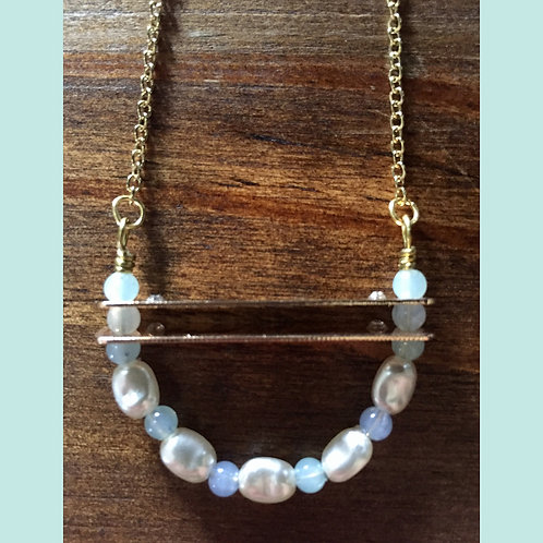Freshwater Pearl Double Bar Necklace