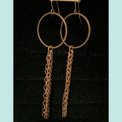 Antique Brass Hoop & Chain Earrings