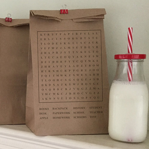Word Search Lunch Bags
