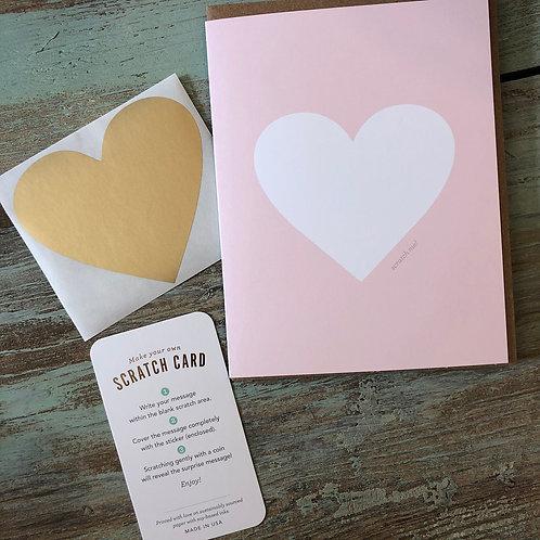 Pink & Gold Heart Scratch-off Card