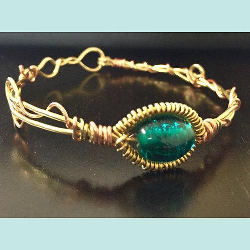 Brass/Copper Wire Glass Bead Cuff