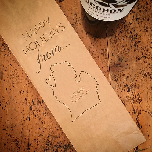 Local Happy Holidays From...Wine Bag